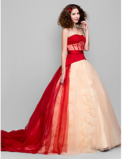 Formal Evening Dress - Ruby Ball Gown Strapless Chapel Train Tulle