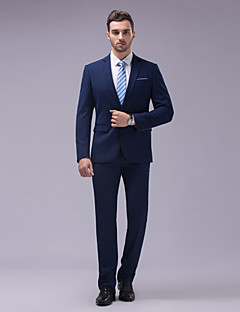 Suits Tailored Fit Slim Notch Single Breasted Two-buttons Cotton / Polyester Solid 2 Pieces Navy Blue