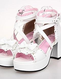 PU Leather 7.5CM High Heel Sweet Lolita Shoes with Row