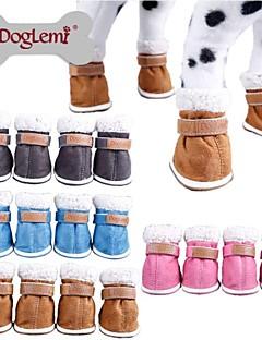 Hunde Schuhe und Stiefel warm halten Winter einfarbig Blau / Braun / Rosa / Grau Plüsch