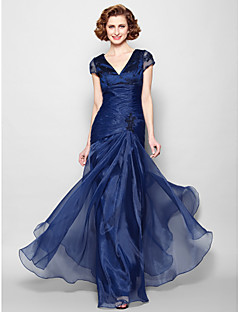Lanting A-line Plus Sizes / Petite Mother of the Bride Dress - Dark Navy Floor-length Short Sleeve Organza
