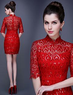 Cocktail Party Dress - Ruby Plus Sizes Sheath/Column High Neck Short/Mini Lace