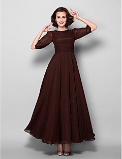A-line Plus Size / Petite Mother of the Bride Dress Ankle-length Half Sleeve Chiffon with Sash / Ribbon / Ruching
