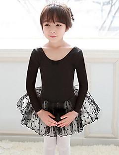 בלט שמלות בגדי ריקוד ילדים ביצועים כותנה / טול שכבות מדורגות / מנוקד חלק 1 שחור / ורוד בלט ללא גב שרוול ארוך שמלות