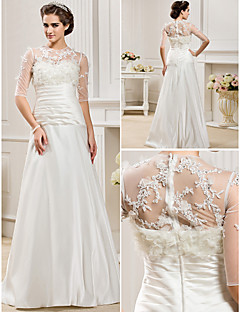 A-line/Princess Plus Sizes Wedding Dress - Ivory Floor-length Jewel Satin