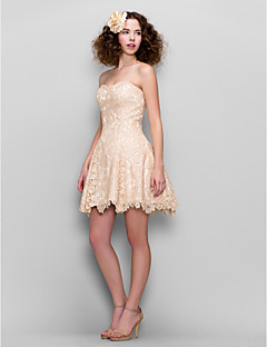 Homecoming Cocktail Party Dress - Champagne A-line Sweetheart Short/Mini Lace