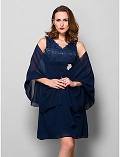 Lyhyt naisten takki Shaalit Hihaton Sifonki Tumma laivastonsininen Häät / Juhlat/Ilta Leveä kaulus 39cm Laskostettu Edestä auki