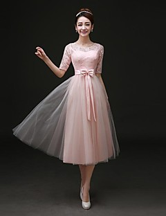 Tea-length Satin Bridesmaid Dress - A-line Bateau with Bow(s) / Lace