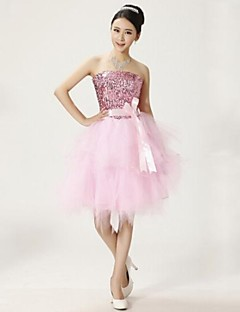 Wedding Party Dress Ball Gown Strapless Knee-length Lace Dress