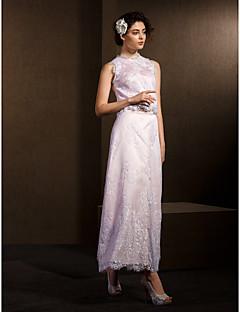 A-line/Princess Wedding Dress - Blushing Pink Ankle-length Jewel Lace