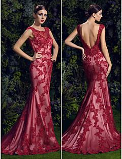 Heimkehr ts-Couture-Abendkleid - ruby Trompete / Mermaid scoop Hofzug Spitze