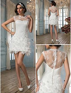 웨딩 드레스 - 아이보리(색상은 모니터에 따라 다를 수 있음) 시스/컬럼 쿼트 트레인 보석 사틴/레이스
