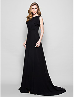 A-line Plus Sizes / Petite Mother of the Bride Dress - Black Court Train Short Sleeve Georgette / Lace