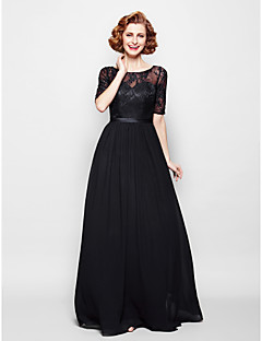 Lanting A-line Plus Sizes / Petite Mother of the Bride Dress - Black Floor-length Half Sleeve Chiffon / Lace