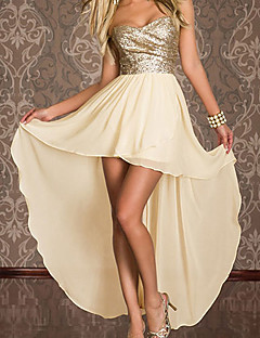 Elegant Strapless Asymmetrical Dress Women's Party Costume