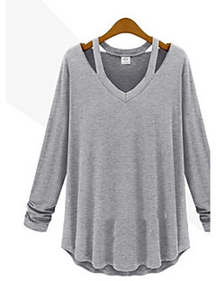 YiFuDi Women's Solid Color White / Black / Gray T-Shirts , Casual / Work V-Neck Long Sleeve plus size