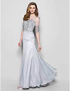 Lanting Bride® A-line Plus Size / Petite Mother of the Bride Dress Floor-length Half Sleeve Organza with Beading / Sequins