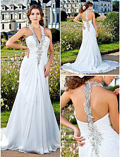 Lan Ting Sheath/Column Plus Sizes Wedding Dress - Ivory Court Train V-neck Chiffon