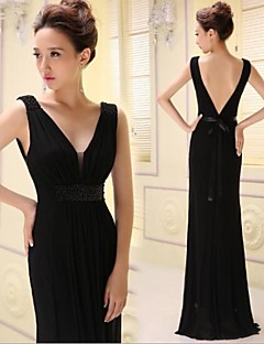 저녁 정장파티 드레스 - 로얄 블루/블랙 A라인 바닥 길이 V넥 레이스