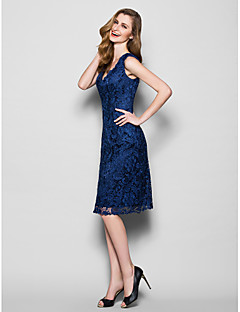 Lanting Sheath/Column Plus Sizes / Petite Mother of the Bride Dress - Dark Navy Knee-length Sleeveless Lace