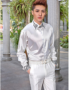 חולצה - קלאסי (חצי מפוזר) שרוולים ארוכים ( לבן , כותנה/פוליאסטר )
