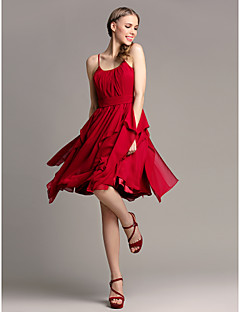 Lanting Bride Knee-length Chiffon Bridesmaid Dress A-line Spaghetti Straps Plus Size / Petite with Cascading Ruffles