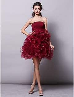 robe de cocktail de retour - Bourgogne robe de bal bustier en tulle mini court /