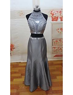 홈 커밍 댄스 파티 / 정장 이브닝 드레스 트럼펫 / 인어 높은 목 바닥 길이 새틴 드레스