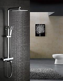 現代風 シャワーシステム サーモスタットタイプ / レインシャワー / ハンドシャワーは含まれている with  セラミックバルブ 二つのハンドル三穴 for  クロム , シャワー水栓