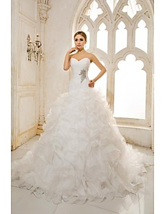 a line sweetheart chapel train organza satin wedding dress with beading appliques cascading ruffle criss