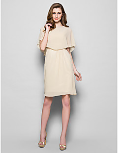 Lanting Sheath/Column Plus Sizes / Petite Mother of the Bride Dress - Champagne Knee-length Half Sleeve Georgette