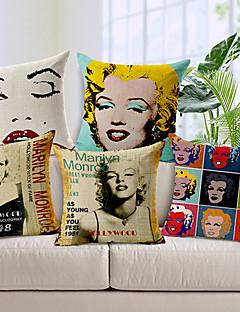conjunto de 5 moderno Monroe Marilyn estilo modelado algodão / linho cobertura decorativa travesseiro