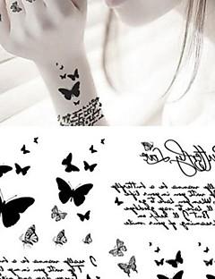 Tatuajes Adhesivos - Non Toxic/Parte Lumbar/Waterproof - Series de Animal - Bebé/Niños/Mujer/Hombre/Adulto/Juventud - Gris/Negro - Papel - 1 pc -
