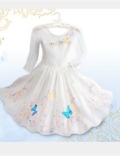 Girl's Summer Inelastic Cinderella Princess Dress Thin Long Sleeve Dresses (Organza)