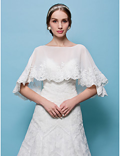 Wedding  Wraps Capelets Tulle White Beige Wedding Party/Evening Pullover