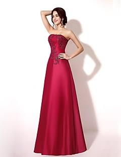 A-line Strapless Floor-length Lace/Taffeta Formal Evening Dress