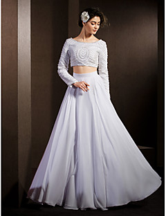 Lan Ting A-line Wedding Dress - White Floor-length Scoop Chiffon