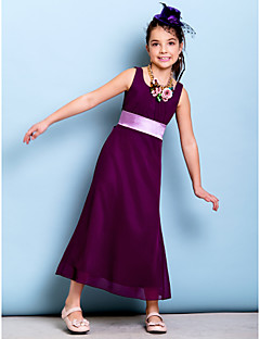 Ankle-length Chiffon Junior Bridesmaid Dress - Grape Sheath/Column Scoop