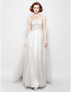 A-line Plus Size / Petite Mother of the Bride Dress Floor-length Sleeveless Tulle with Appliques / Beading / Criss Cross