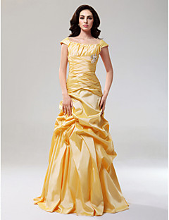 Prom / Formal Evening Dress - Plus Size / Petite A-line / Princess Off-the-shoulder Floor-length Taffeta