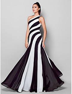 ts couture® avondjurk plus size / petite mantel / kolom een schouder vloer-length chiffon met kant draperen