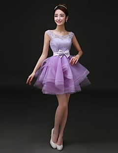 Cocktail Party Dress - Lilac Plus Sizes A-line Bateau Short/Mini Satin