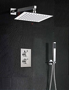 Contemporain Montage mural Thermostatique with  Valve en laiton Deux poignées Deux trous for  Chromé , Robinet de douche
