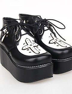 svart pu lær 6.5cm plattform punk lolita sko