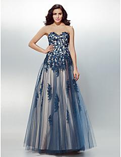 Formal Evening Dress - Dark Navy A-line Sweetheart Floor-length Tulle