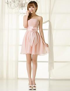 동창회 들러리 드레스 짧은 / 미니 쉬폰 A 라인 strapless 드레스