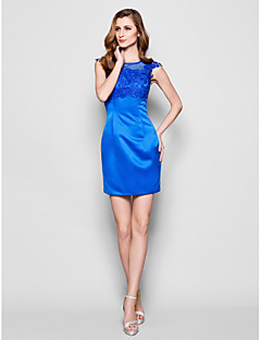 Lanting Sheath/Column Plus Sizes / Petite Mother of the Bride Dress - Royal Blue Short/Mini Sleeveless Lace / Satin