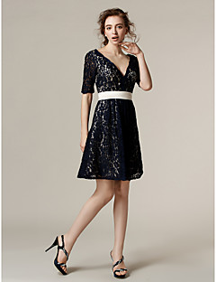 LAN TING BRIDE Knee-length V-neck Bridesmaid Dress - Little Black Dress Short Sleeve Lace