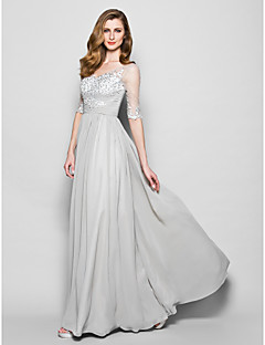 Lanting Bride® A-line Plus Size / Petite Mother of the Bride Dress Floor-length Half Sleeve Chiffon / Tulle withAppliques / Beading /