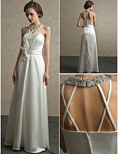 Sheath/Column Floor-length Wedding Dress -Halter Satin